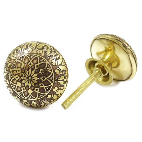Closet Door Knobs Decorative Indian Brass Knobs Decorative Drawer Cabinet Puller Golden Door Knobs 2 Pcs Ebay
