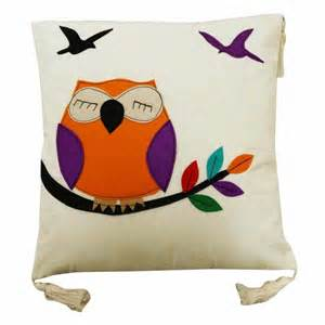 Patchwork Owl Cushion - white cushion cover cotton fringe pillow owl