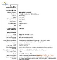 Plantilla De Curriculum Vitae Europass Descargar Curriculum Vitae Europeo Europass Gratis