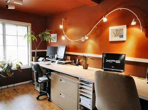 home lighting ideas wall mounted s track lighting fixtures for small modern home office design with dark orange wall