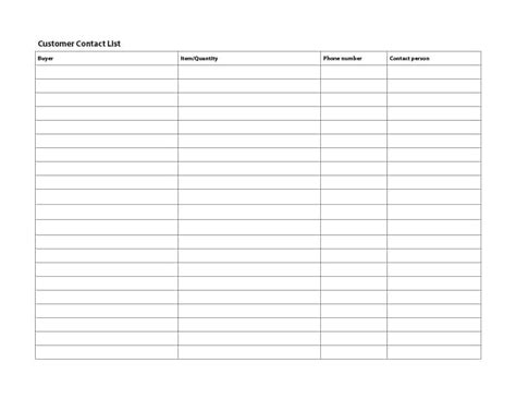 emergency contact list office templates