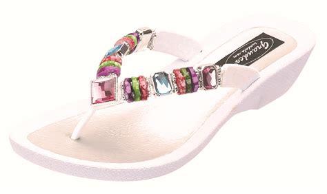 white beaded sandals grandco s beaded wedge sandals