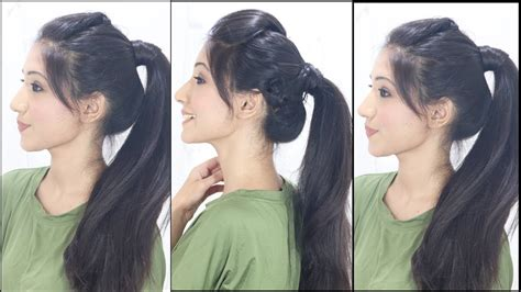 3 simple cute ponytail hairstyles for indian school college girls youtube