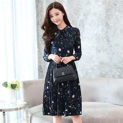 Midi Dress Korea Berkualitas korean style floral print sleeved chiffon midi dress