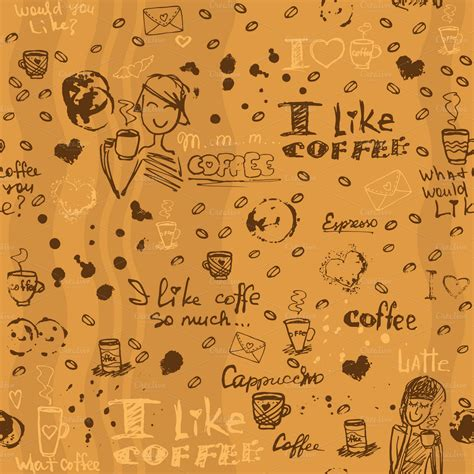 Seamless Pattern Coffee | seamless coffee patterns illustrations on creative market