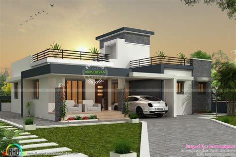 Kerala Home Design Box Type 3 Bhk Contemporary Box Type Home Kerala Home Design And