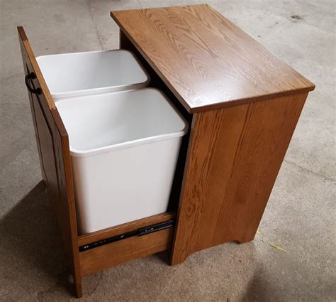 double trash bin cabinet four seasons furnishings amish made furniture amish made