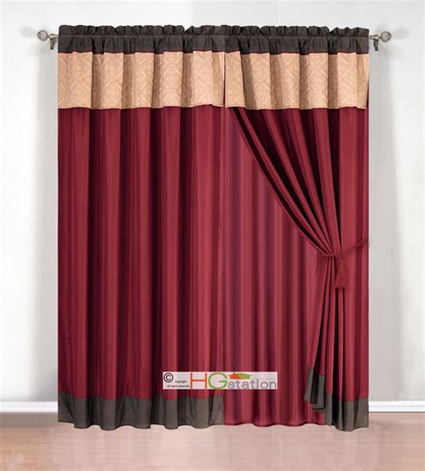 quilted curtains 4 pc quilted tile diamond square curtain set valance drape