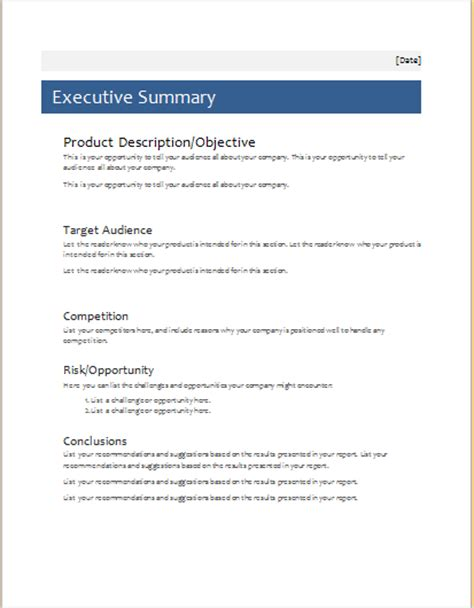 executive summary template word simple executive summary template 28 images 20