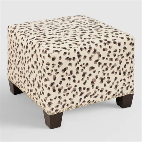 leopard ottoman snow leopard mckenzie upholstered ottoman world market