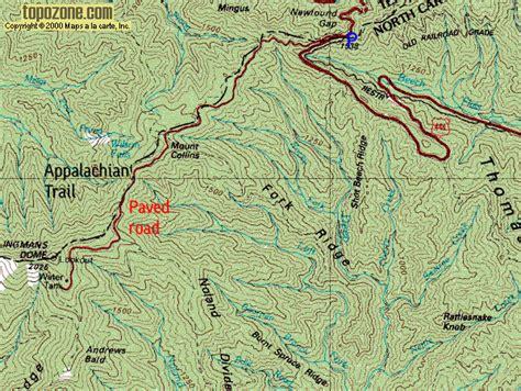 map of dome u s mountains route descriptions mt collins clingman