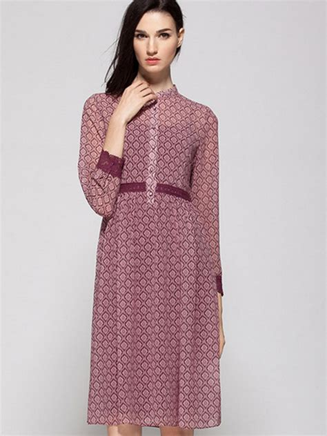 Knit Panel Sleeve Lace Dress professionals 50 discount for sale wine button front