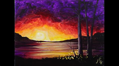 acrylic painting on canvas sunset at the lake step by step acrylic painting on canvas