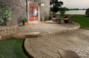 concrete patio designs for warm look indoor and outdoor