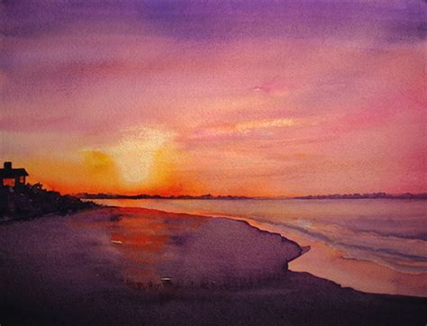 water color sunset photo