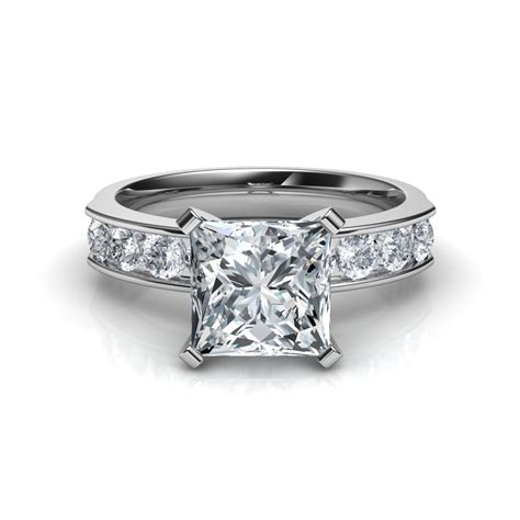 Princess Cut Rings by Channel Set Princess Cut Engagement Ring In 14k