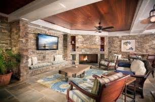 stone wall living room with custom furniture