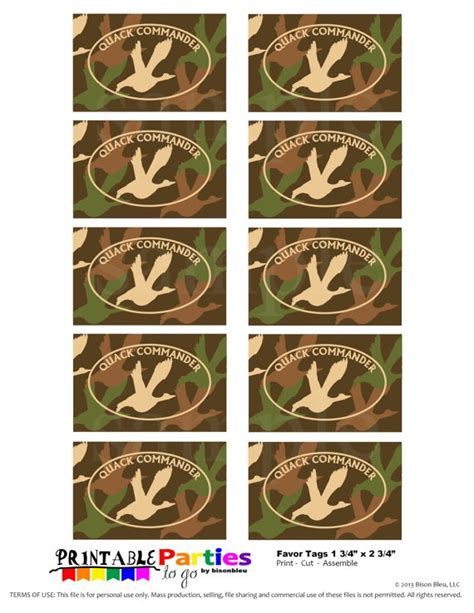 printable hunting tags 27 best images about hunting duck dynasty party on
