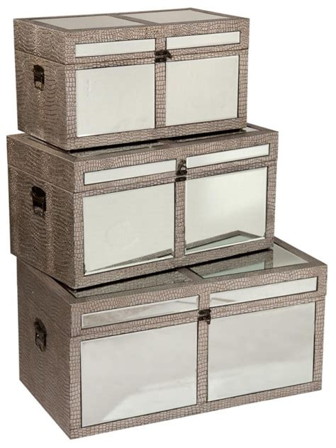 Moc croc mirrored storage box trunks set of 3, Free Delivery, Coco54