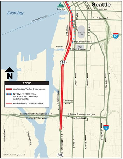 seattle map airport to downtown viaduct closure suggested traffic detours to and from