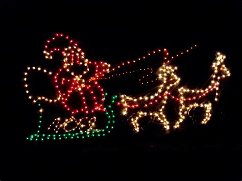 santa s sleigh christmas lights picture free photograph