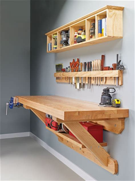 wall bench plans wall mounted workbench woodsmith plans shop