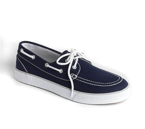 polo ralph lander canvas boat shoes in blue for