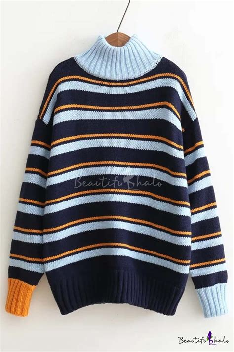 Sweater Top Black Stripe High Neck Sweater Wanita Import stylish color black stripe high neck sleeve