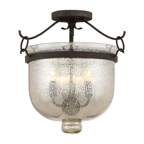 rustic semi flush mount lighting shop quoizel burgess 15 in w rustic black mercury glass