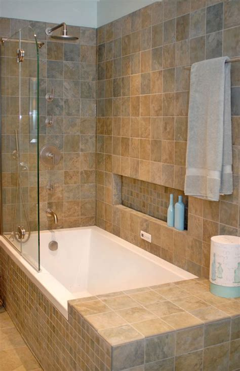 bathroom with bathtub and shower shower tub combo with shoo ledge and small side lip no