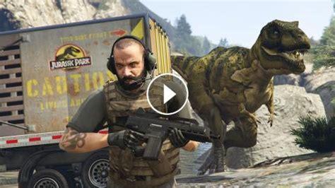 jurassic world the game mod 1 5 17 gta 5 mods jurassic world w t rex attack mod gta 5 t