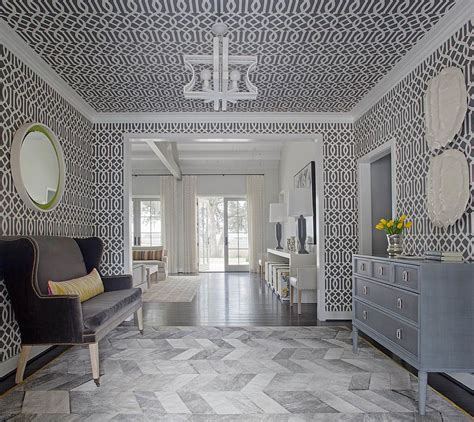 foyer wallpaper 25 gorgeous entryways clad in wallpaper