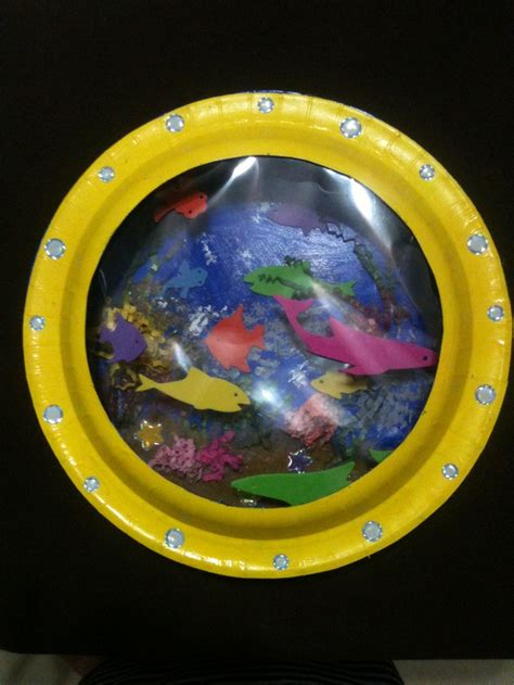 How To Make A Paper Aquarium - paper plate aquarium arts crafts