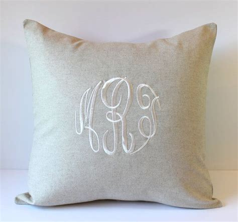 Monogrammed Pillow Cover. NATURAL LINEN. Monogram