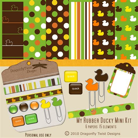 rubber ducky mini digital scrapbook kit by dragonflytwist