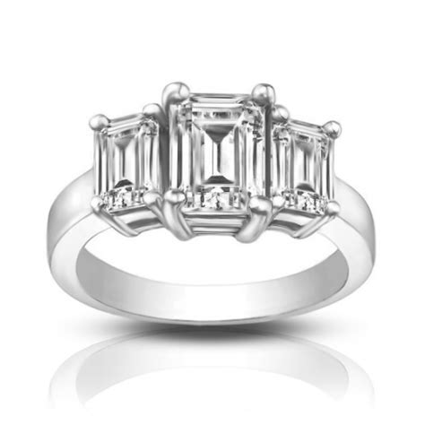 1 75 ct three emerald cut engagement ring