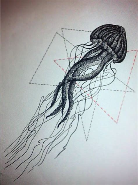 tattoo geometric background super dotwork jellyfish on black and red line geometric