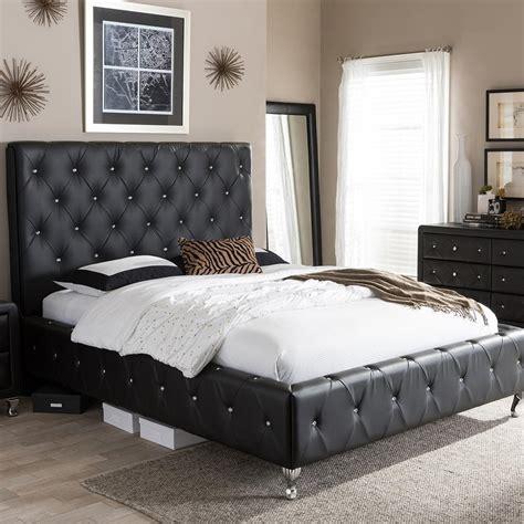 black size bed baxton studio mandy vintage industrial black finished
