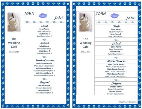 menu design using microsoft word wedding menu template