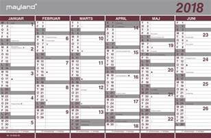 Kalender 2018 Til Print Mayland Dobbelt Halv 229 Rskalender 2018 44x29 Cm Se