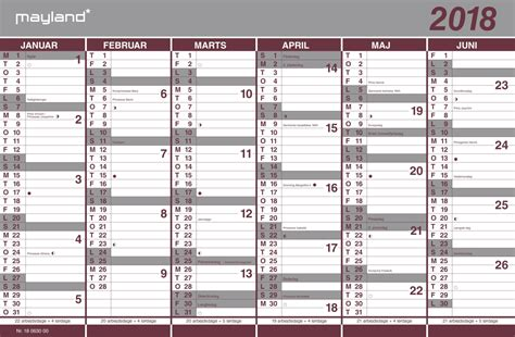 Kalender 2018 Med Uger Mayland Dobbelt Halv 229 Rskalender 2018 44x29 Cm Se