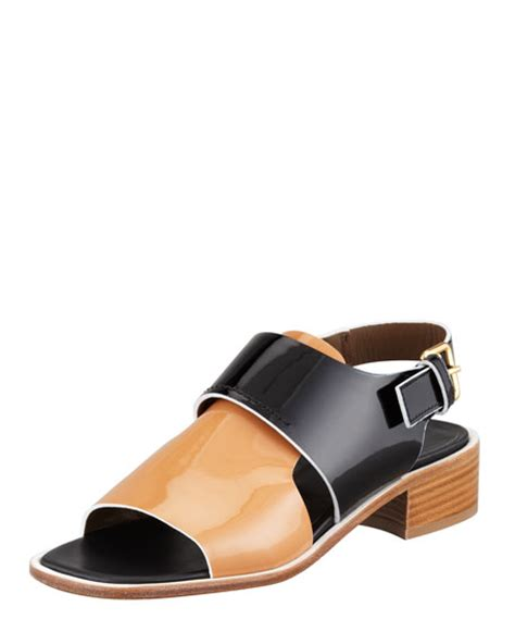 Buckled Patent Low Heel Shoes marni patent low heel sandal brown black