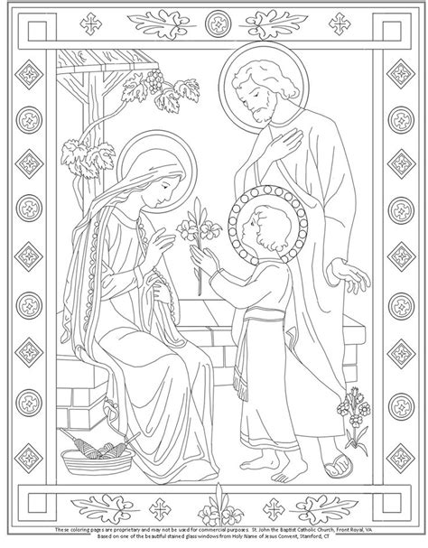 the holy family coloring page catholic coloring pages