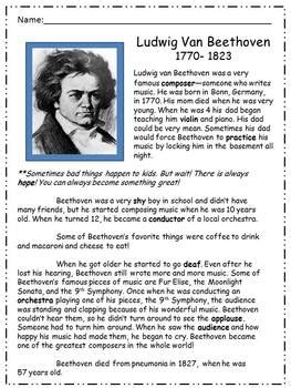 beethoven biography for students beethoven unit biography writing word problems
