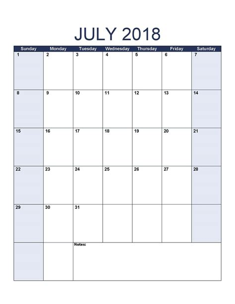 july calendar template july 2018 printable calendar 8 free blank templates