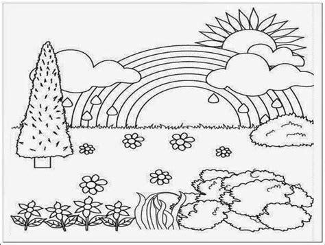 gambar bunga anak sd  gambar mewarnai pemandangan alam