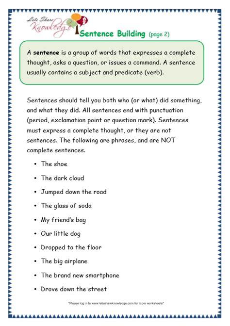 grade 3 grammar topic 35 sentence building worksheets
