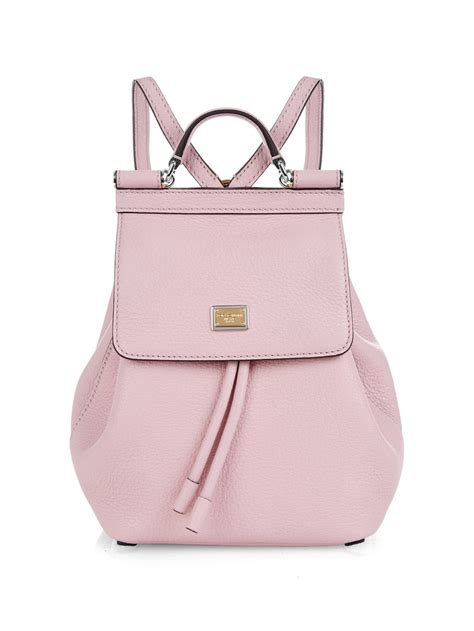 light pink leather backpack dolce gabbana sicily micro leather backpack in pink lyst