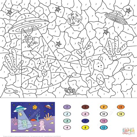 cute number coloring pages cute aliens color by number free printable coloring pages
