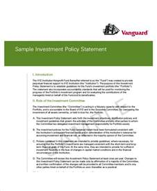 investment policy statement template sle investment policy statement 10 exles in word pdf